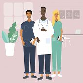 Doctors And Nurse At The Clinic. Team Of Medical Specialists. Flat Stylish Vector Illustration In Ca poster