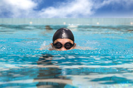 stock photo of breast-stroke  - man in the Swimming pool with breast stroke - JPG