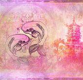abstract japanese fish koi background , raster