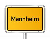 City limit sign Mannheim against white background - signage - Baden Wuerttemberg, Baden W�?�¼rtte