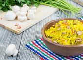 Rice With Saffron And Champignons
