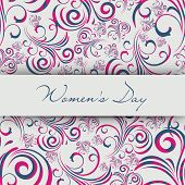 Beautiful floral decorative greeting card or background for Women's Day.