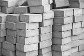 Silicate Grey Paving Bricks In Stacks