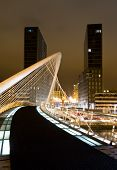 Nightview of Zubizuri bridge and Isozaki towers, in Bilbao