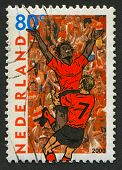 NETHERLANDS - CIRCA 2000: Postage stamp printed in Netherlands dedicated to XI UEFA Football Champio