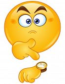 stock photo of angry smiley  - Emoticon pointing at watch - JPG