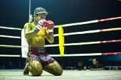 CHANG, THAILAND - FEB 22: Unidentified Muaythai fighter in ring during match, Feb 22, 2013 on Chang, Thailand. For many Thai men, Muaythai only way to break out of poverty, per battle pay to 7000 baht