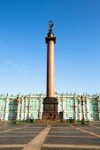 ST.PETERSBURG, RUSSIA - MAY 21: The Alexander Column, is focal point of Palace Square in May 21, 201
