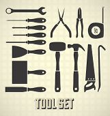 stock photo of hammer drill  - Collection of handy man construction tool silhouettes - JPG