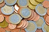 A lot of euro coins as financial background