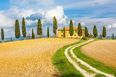 stock photo of farmhouse  - Tuscany autumn landscape - JPG