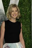 WEST HOLLYWOOD, CA - FEB 24: Rosamund Pike at the Vanity Fair Oscar Party at Sunset Tower on Februar