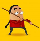 Red Kungfu Master. Vector illustration