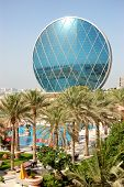ABU DHABI, UAE - JUNE 11: The Aldar headquarters building is the first circular building of its kind