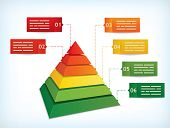 Presentation template with a pyramidal diagram symbolizing hierarchy or other differences