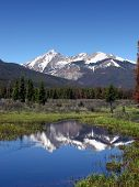 Rocky Mountains Scenic Landscape with Snow Peaks