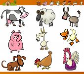 stock photo of turkey-hen  - Cartoon Illustration Set of Funny Farm and Livestock Animals isolated on White - JPG