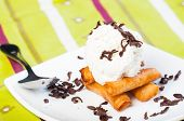 pic of lumpia  - fried custard wrapped lumpia wrapper topped with vanilla ice cream and shaved truffle chocolates - JPG