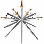 Conjunto de ilustrações vetoriais de espadas atravessam transversalmente.