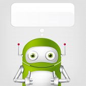 Cartoon Character Cute Robot on Grey Gradient Background. Cool. Vector EPS 10.
