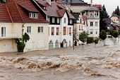floods and flooding the streets in steyr, austria
