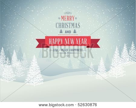 Merry Christmas Landscape. Vector poster