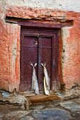 Old door at Buddhist monastery temple