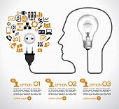 Template infographic. Cable with  plug and an lamp form a profile of the person. The lamp symbolizes the brain. Electrical plug is connected to an electrical outlet, surrounded by business icons.