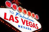 The famous Welcome to Fabulous Las Vegas sign at night