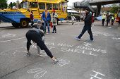 As Part Of The Aurora The Polar Bear March Campaigners Peacefully Protest By Putting Chalk Messages