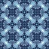 Seamless winter blue diamond floral vector wallpaper pattern.