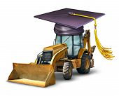 stock photo of bulldozer  - Construction school and industrial machinery equipment training with a bulldozer wearing a graduation cap or mortar board as a symbol of professional development in building architectural structures - JPG