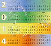 Calendar 2014 with Horse silhouette symbol of New Year Holiday