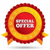 Special offer red label with stars and ribbons
