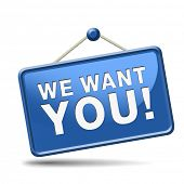 We want you button. job vacancy help wanted search employees for jobs opening find worker for open v