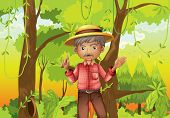 image of hollow log  - Illustration of an old man standing in the middle of the forest - JPG