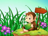 Illustration of a monkey reading a book beside the arrowboard