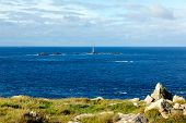 View from Land`s End Cornwall England UK including the Longships lighthouse and Cornish coast