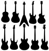stock photo of ibanez  - Vector isolated guitars silhouettes on white background - JPG