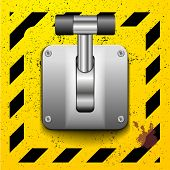 foto of levers  - detailed illustration of a lever in upright position on a yellow construction style background - JPG