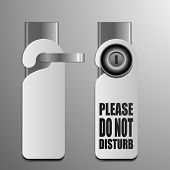 detailed illustration of do not disturb sheets with different door knobs used in hotels and motels