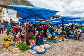 PISAC, PERU - JULY 14: people in the Pisac Market in the peruvian Andes at Pisac Peru on july 14th,