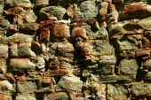 stock photo of fieldstone-wall  - The stone wall for old mansion background - JPG