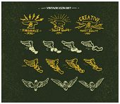vintage retro labels with eagle, wings,shoes,skull vector drawing