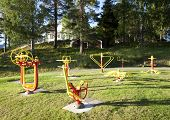 Outdoor gym machines.