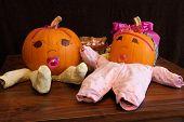Pumpkin Babies In Onesies Wide Angle