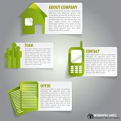 Vector abstract green infographic labels with a descriptions and icons for company