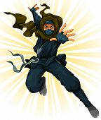 stock photo of starburst  - cartoon ninja jumping with starburst at the background - JPG
