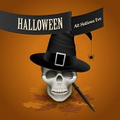 Skull with sorcerer's hat and wand, Halloween card, eps10 vector