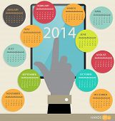 2014 year calendar, vector illustration.